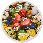 Gourds And Pumpkins At The Farmers Market Round Beach Towel