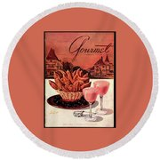 Gourmet Cover Featuring A Basket Of Potato Curls Round Beach Towel by Henry Stahlhut