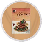 Gourmet Cover Featuring A Boar's Head Round Beach Towel
