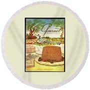 Gourmet Cover Featuring A Buffet Farm Scene Round Beach Towel
