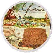 Gourmet Cover Featuring A Buffet Farm Scene Round Beach Towel