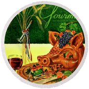 Gourmet Cover Featuring A Pig's Head On A Platter Round Beach Towel