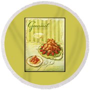 Gourmet Cover Featuring A Plate Of Beignets Round Beach Towel
