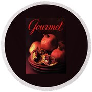 Gourmet Cover Featuring A Plate Of Pomegranates Round Beach Towel