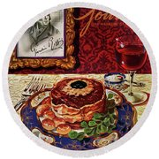 Gourmet Cover Featuring A Plate Of Tournedos Round Beach Towel