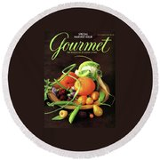 Gourmet Cover Featuring A Variety Of Fruit Round Beach Towel