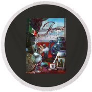 Gourmet Cover Featuring A Variety Of Italian Round Beach Towel