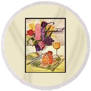Gourmet Cover Featuring Sweetbread And Asparagus Round Beach Towel
