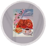 Gourmet Cover Illustration Of A Basket Of Popovers Round Beach Towel