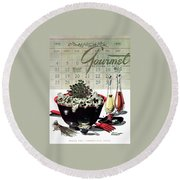 Gourmet Cover Illustration Of A Bowl Of Salad Round Beach Towel