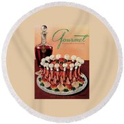 Gourmet Cover Illustration Of A Crown Roast Round Beach Towel