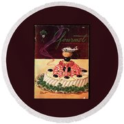 Gourmet Cover Illustration Of A Filet Of Sole Round Beach Towel