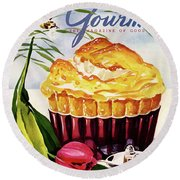 Gourmet Cover Illustration Of A Souffle And Tulip Round Beach Towel