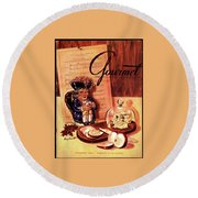 Gourmet Cover Illustration Of A Tray Of Cheese Round Beach Towel