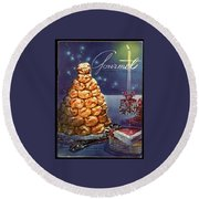 Gourmet Cover Illustration Of Croquembouche Round Beach Towel