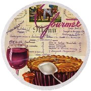 Gourmet Cover Illustration Of Deep Dish Pie Round Beach Towel