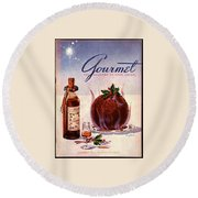 Gourmet Cover Illustration Of Flaming Chocolate Round Beach Towel