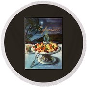 Gourmet Cover Illustration Of Fruit Dish Round Beach Towel