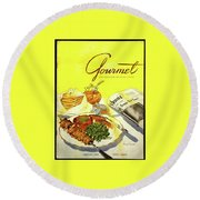 Gourmet Cover Illustration Of Grilled Breakfast Round Beach Towel