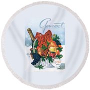 Gourmet Cover Illustration Of Holiday Fruit Basket Round Beach Towel