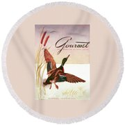 Gourmet Cover Of A Goose Round Beach Towel