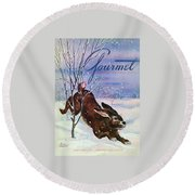 Gourmet Cover Of A Rabbit On Snow Round Beach Towel
