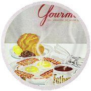 Gourmet Cover Of Breakfast Round Beach Towel