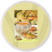 Gourmet Cover Of Pumpkin Soup Round Beach Towel