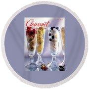 Gourmet Magazine Cover Featuring Ice Cream Round Beach Towel