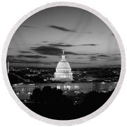 Government Building Lit Up At Night, Us Round Beach Towel