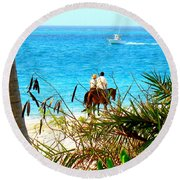 Grace Bay Riding Round Beach Towel by Patti Whitten
