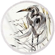 Round Beach Towel featuring the painting Grace Of Solitude by Bill Searle