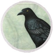 Grackle Round Beach Towel by James W Johnson