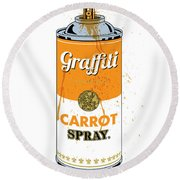 Graffiti Carrot Spray Can Round Beach Towel