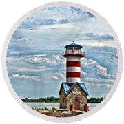 Grafton Lighthouse Round Beach Towel by John Freidenberg