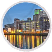 Round Beach Towel featuring the photograph Grain Silo Rotterdam by Frans Blok