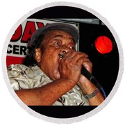 Round Beach Towel featuring the photograph Grammy Award Winner James Cotton by Mike Martin