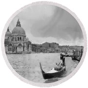 Round Beach Towel featuring the painting Grand Canal Venice Italy by Georgi Dimitrov