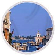 Grand Canal Venice Italy Round Beach Towel