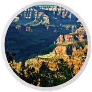 Round Beach Towel featuring the photograph Grand Canyon  Golden Hour On Angel Point by Bob and Nadine Johnston