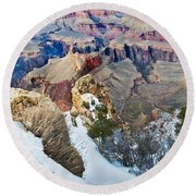 Round Beach Towel featuring the photograph Grand Canyon In February by Mae Wertz