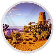 Round Beach Towel featuring the painting Grand Canyon National Park Golden Hour Watchtower by Bob and Nadine Johnston