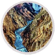 Round Beach Towel featuring the photograph Grand Canyon Of The Yellowstone by Benjamin Yeager