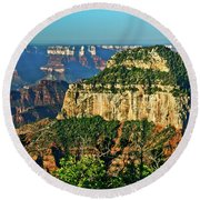 Round Beach Towel featuring the photograph Grand Canyon Peak Angel Point by Bob and Nadine Johnston