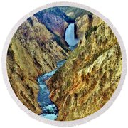 Round Beach Towel featuring the photograph Grand Cayon Of The Yellowstone River by Benjamin Yeager