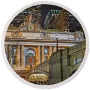Grand Central Nocturnal Round Beach Towel by Jeffrey Friedkin