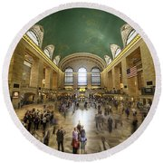 Grand Central Rush Round Beach Towel