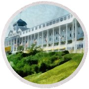 Grand Hotel Mackinac Island Ll Round Beach Towel by Michelle Calkins