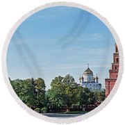 Grand Kremlin Palace With Cathedral Round Beach Towel