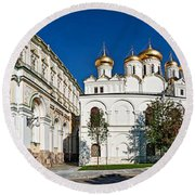 Grand Kremlin Palace With Cathedrals Round Beach Towel by Panoramic Images